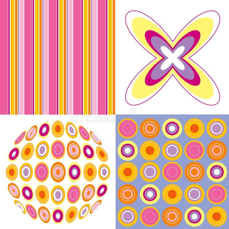 Retro pop roze geel patroon stock illustratie