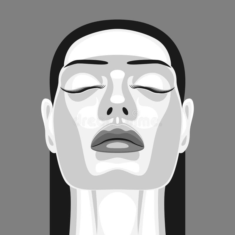 Retro- Porträt der Vampirs-Frau in der Noir Art vektor abbildung