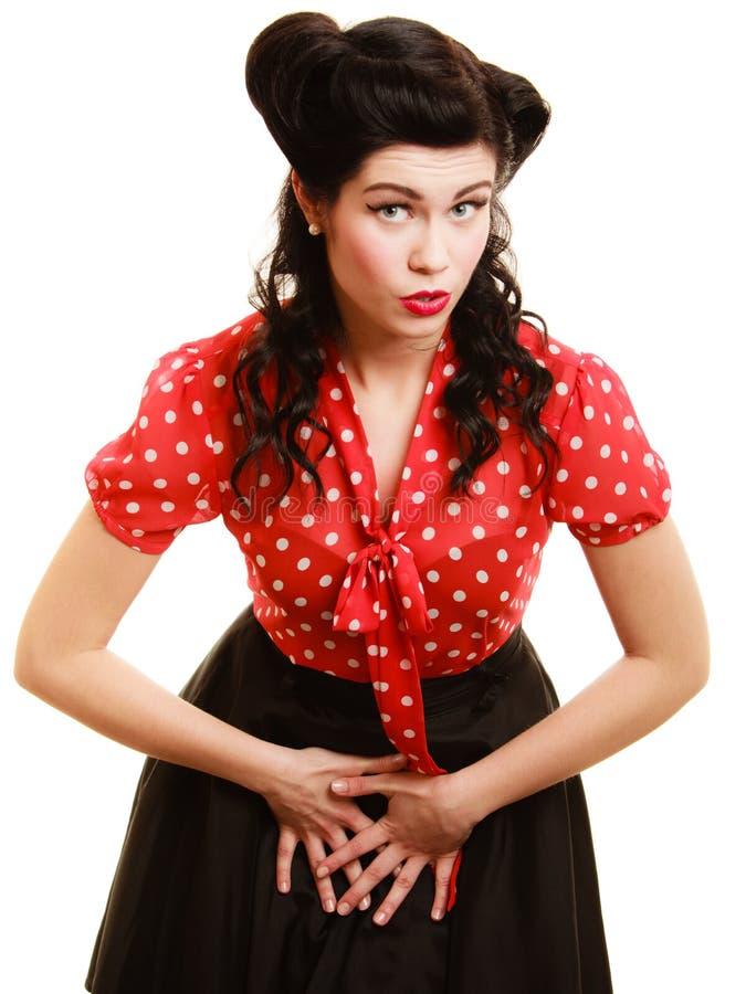 retro Porträt des Frauenmädchens mit Pinupfrisur lizenzfreie stockbilder