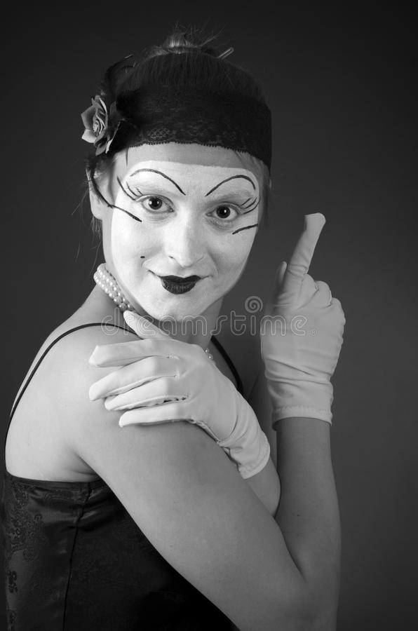 Retro- Porträt des Pantomimen lizenzfreie stockfotografie