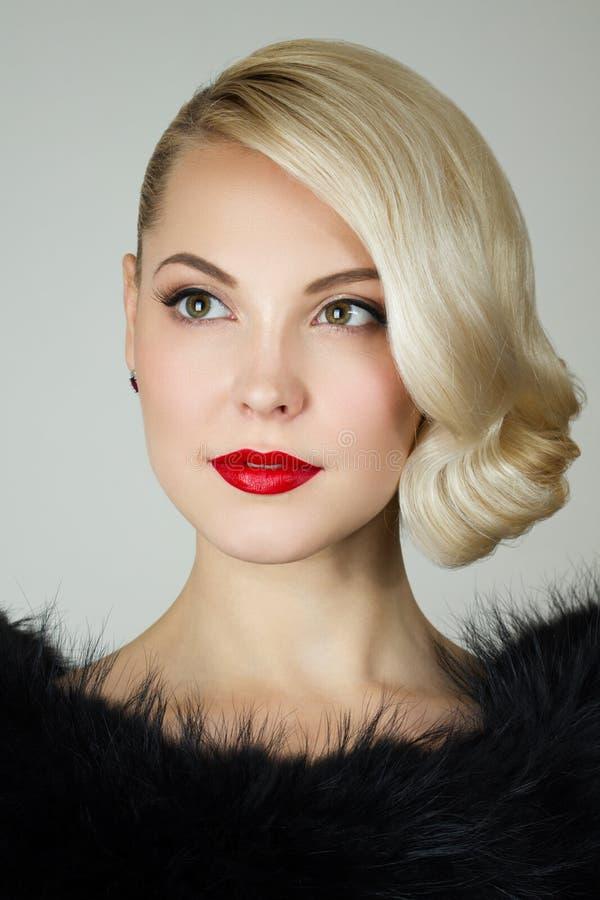 Retro portrait of a beautiful woman stock photography
