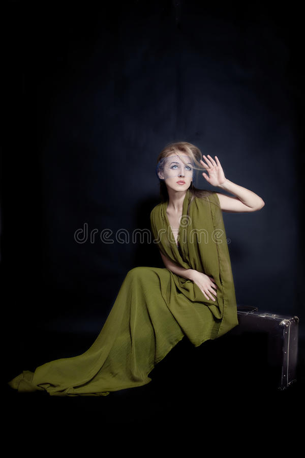 Retro portrait of beautiful young woman royalty free stock image