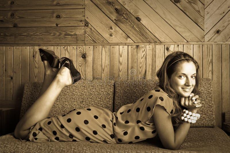 Download Retro Portrait Of  Woman On Sofa Stock Photo - Image: 16347890