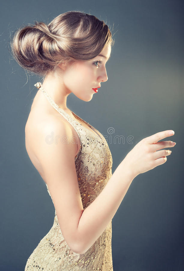 Retro portrait of a young woman stock photo