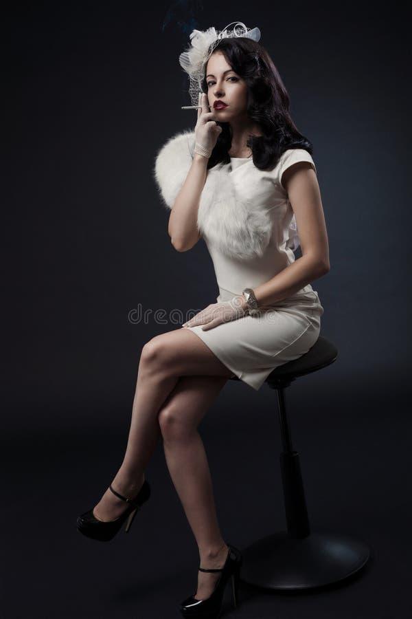 Retro Portret van de Vrouw royalty-vrije stock foto's