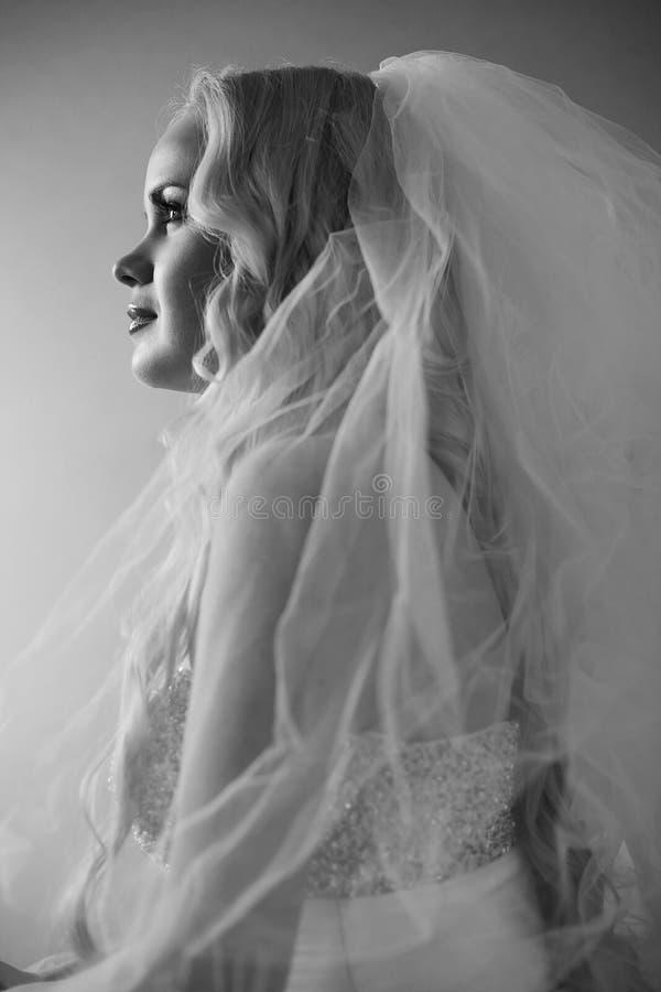 Retro portret van het mooie blondebruid stellen stock foto's