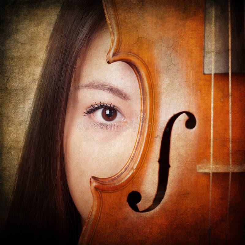 Retro portret z skrzypce obrazy stock