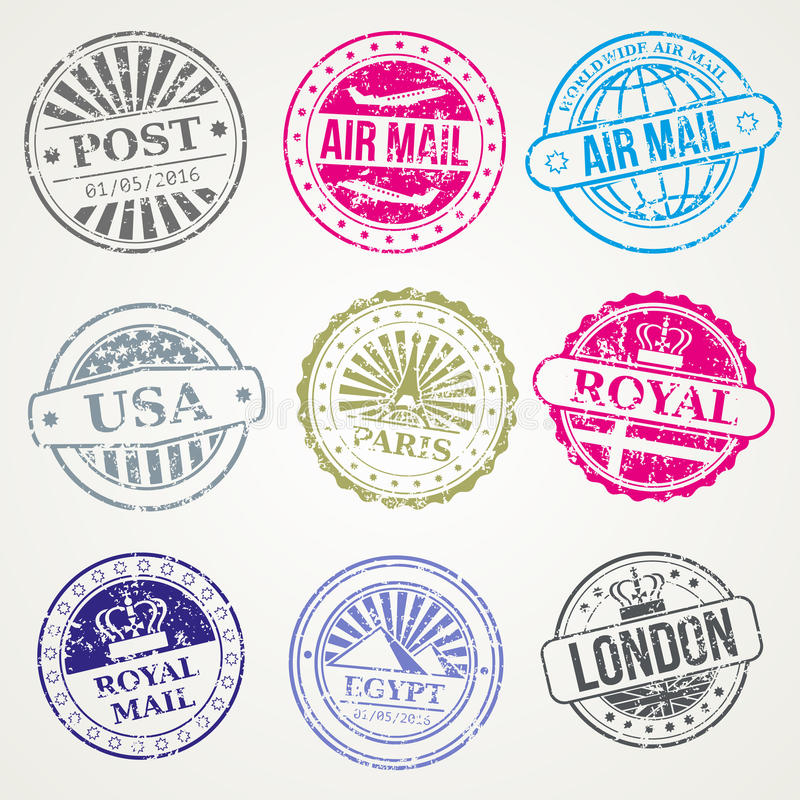 Retro postal stamps mail post office air vector set stock for Post office design your own stamps