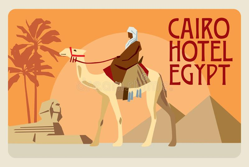 Retro postcard Egypt. A rider on a camel, in the background of a pyramid, a sphinx and palms stock illustration