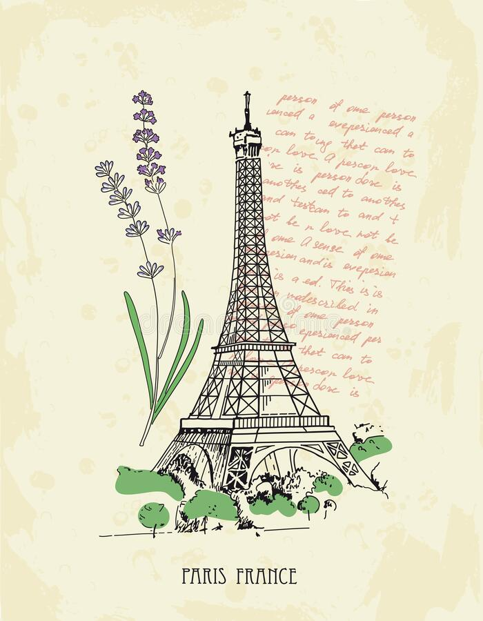 Retro postcard with Eiffel tower, lavender, text. Paris, France. royalty free stock photography