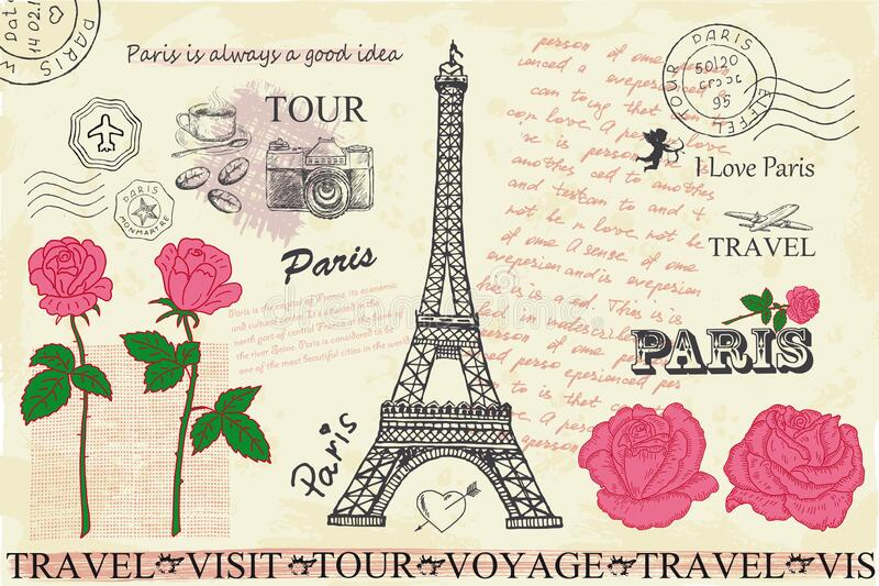 Retro postcard with Eiffel tower in Paris, France. stock photo