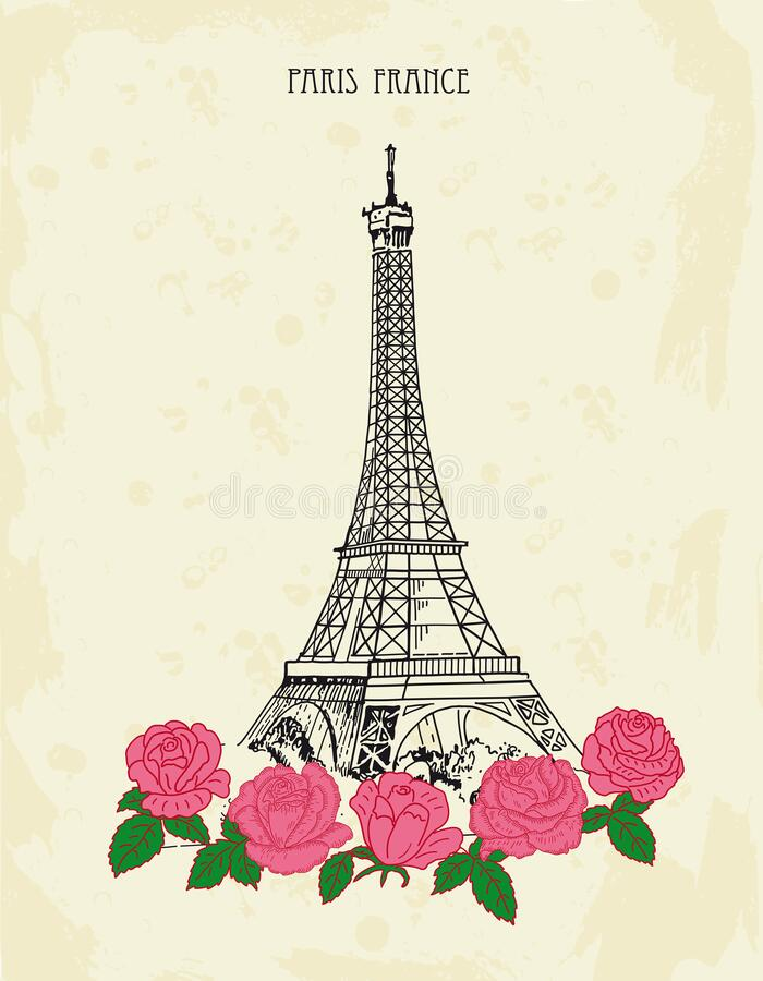 Retro postcard with Eiffel tower and pink roses. Paris, France. royalty free stock photography