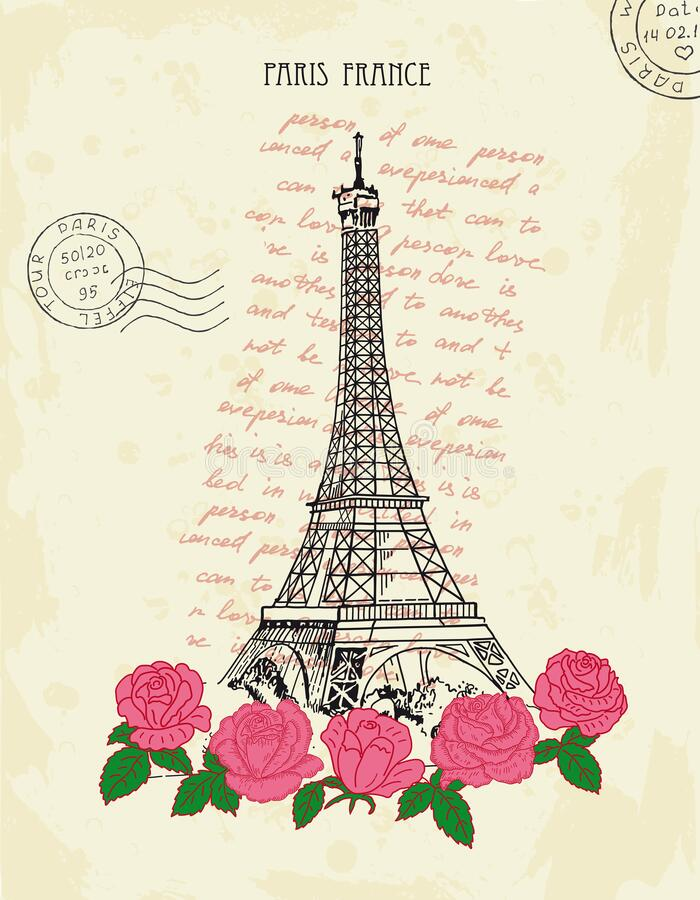 Retro postcard with Eiffel tower and pink roses. Paris, France. royalty free stock images