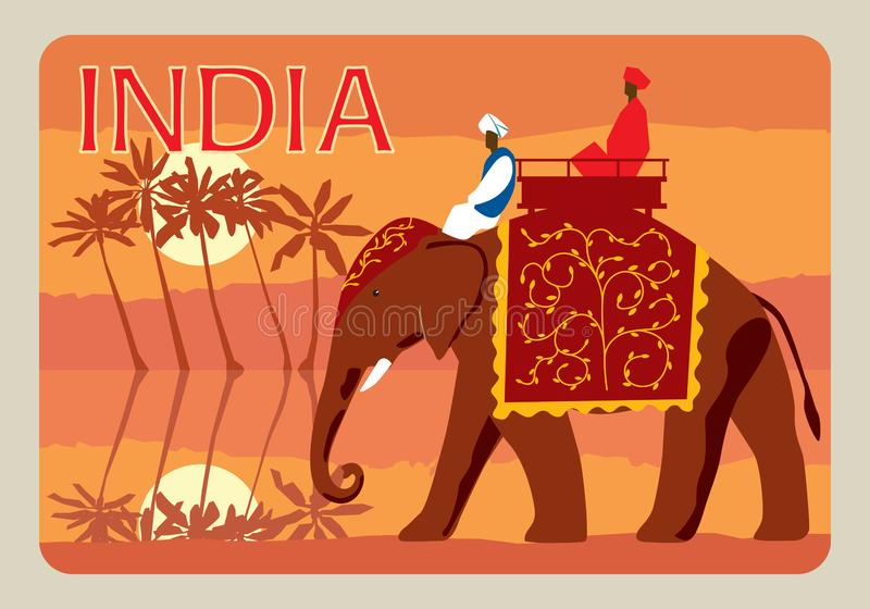 Retro postcard India. Indians on an elephant, in the background a jungle, palm trees, a river, the moon stock illustration