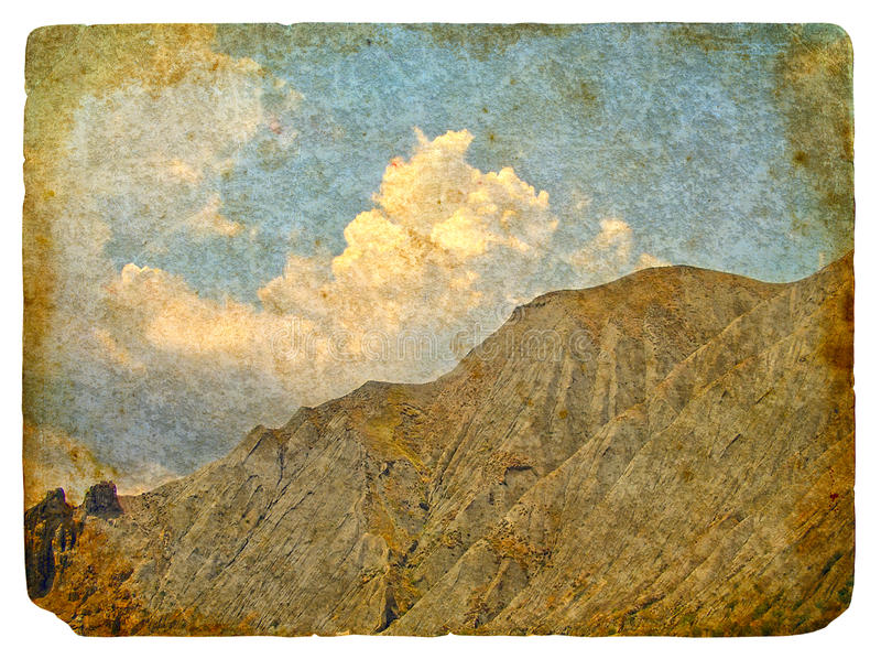 Retro postcard with mountains and clouds. Old retro postcard with a picture of mountains and clouds. On a white background vector illustration