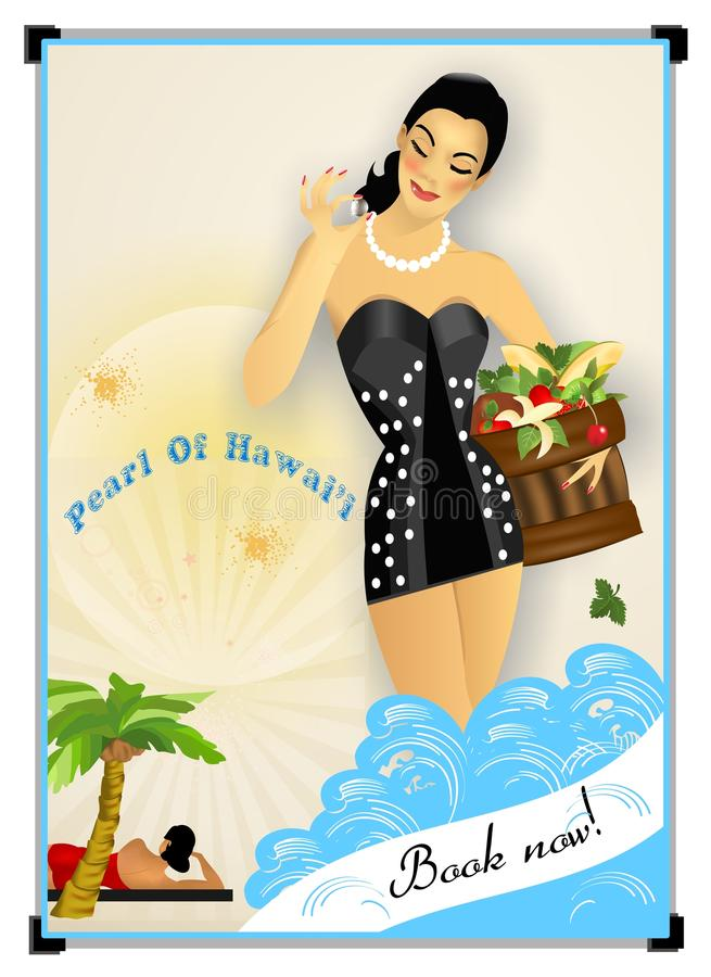Retro poster. Advertising travel to Hawaii vector illustration