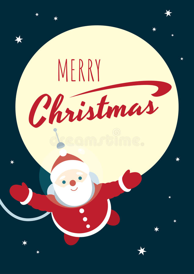 Retro poster astronaut Santa floating. Vector retro styled poster with a text `Merry Christmas`and an illustration of Santa Claus in an astronaut suit floating royalty free illustration