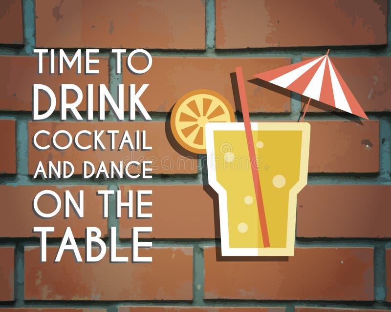 Retro poster design for cocktail lounge bar stock illustration