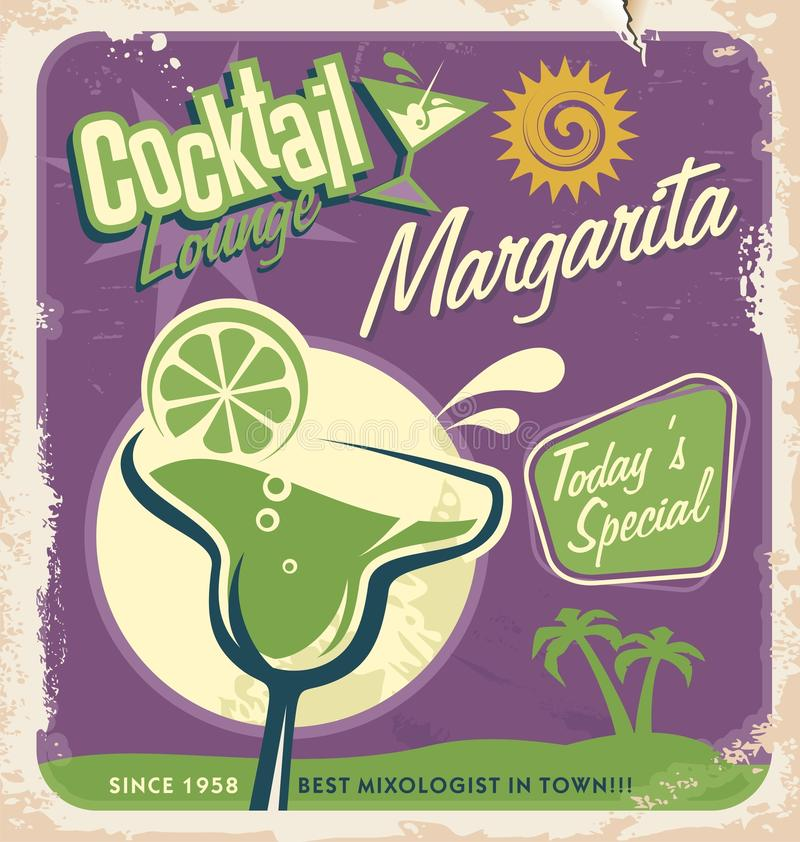 Retro poster design for one of the most popular cocktails. Promotional retro poster design for one of the most popular cocktails Margarita. Vintage cocktail bar vector illustration