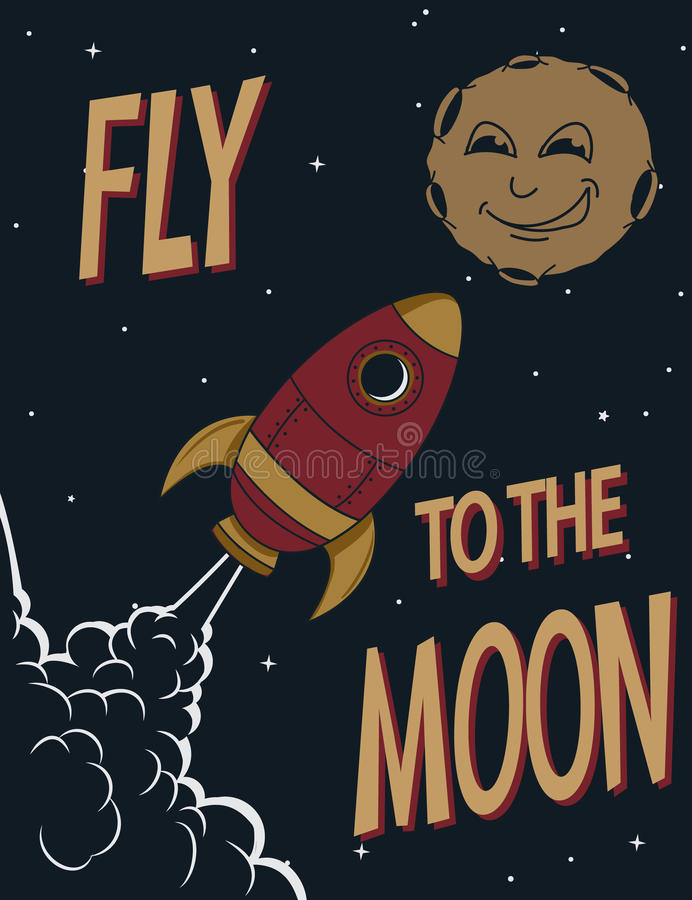 Retro poster.Funny rocket fly to the smiling moon stock illustration