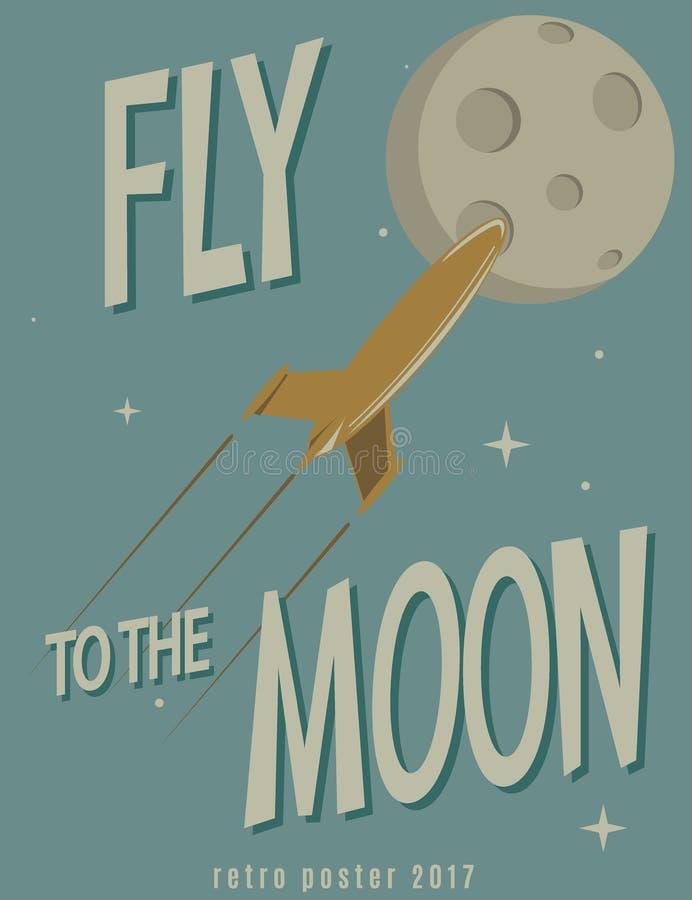 Retro poster.Rocket fly to the moon. Cartoon vector illustration royalty free illustration