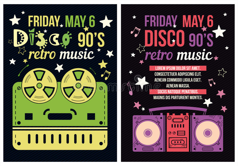 Retro Poster. 90s Party Flyer with a tape recorder stock illustration