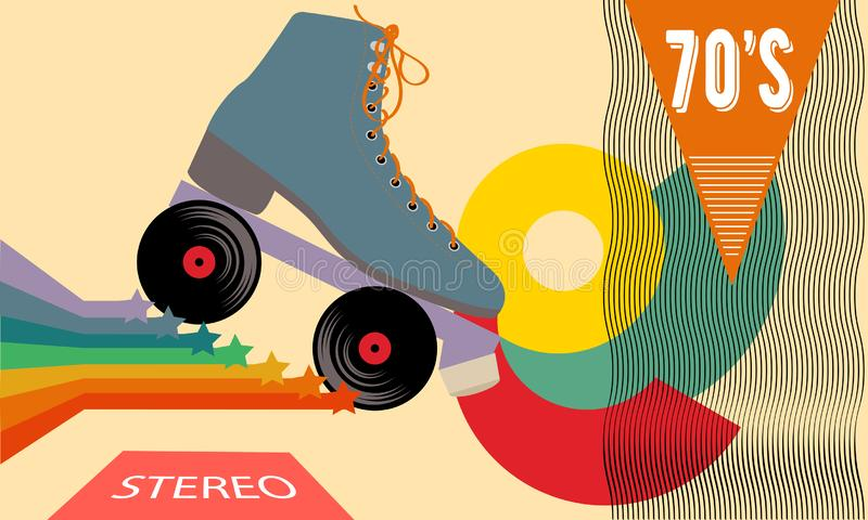 Retro poster in the style of the 70s. Roller skates, stars, music and records. Vector illustration. stock illustration