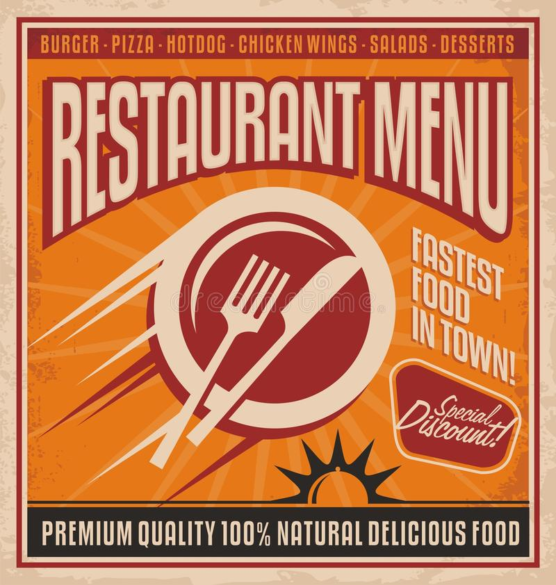 Retro poster template for fast food restaurant. Fastest food in town - promotional design concept for printing media. Vintage label for premium 100 % natural vector illustration