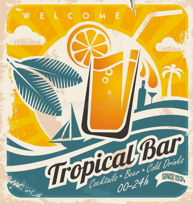 Retro poster template for tropical bar. Beach bar vintage sign. Grunge seaside old paper card with cold drink and palm tree stock illustration