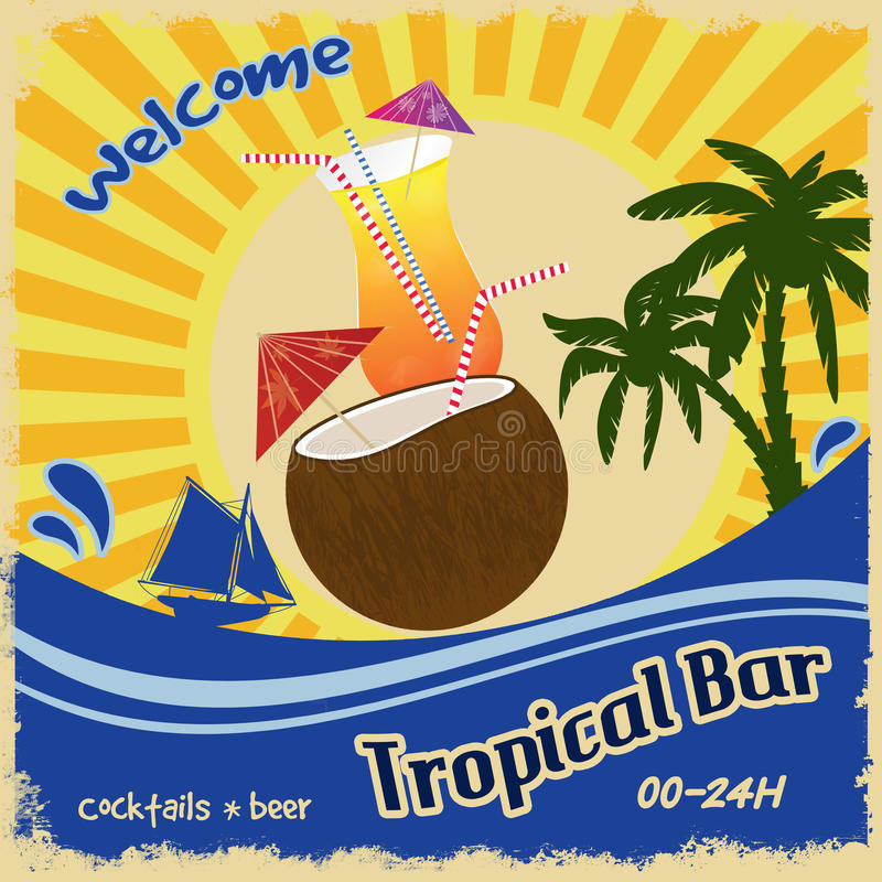 Retro poster for tropical bar. Retro poster template for tropical bar, vector illustration royalty free illustration