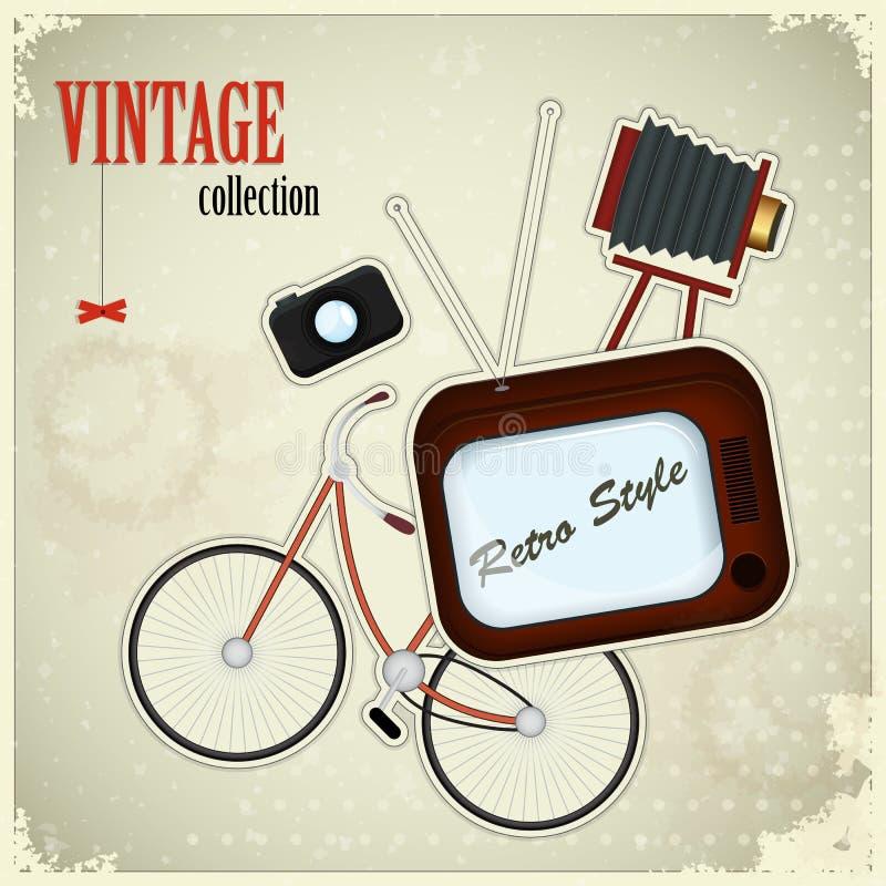 Retro poster - vintage stuff on grunge background vector illustration