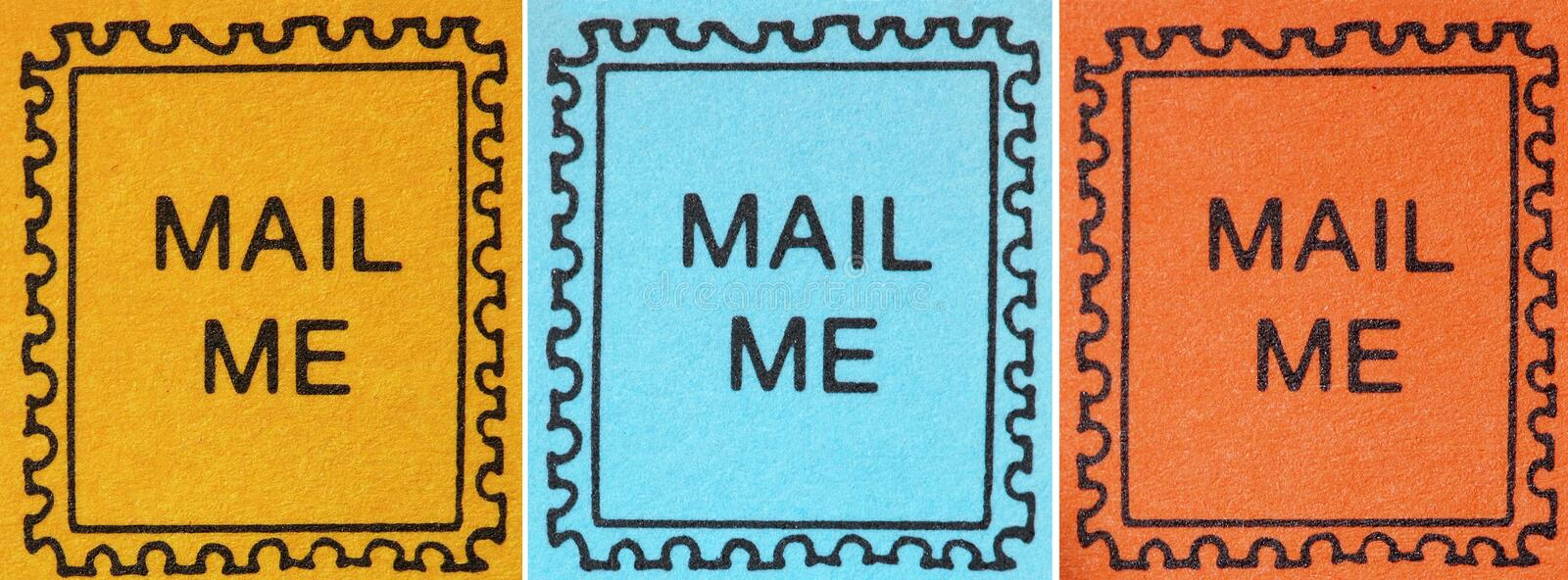 Retro Postmark Stamp Icons. Three stamp images with Mail Me in the center. Highly detailed images in yellow, blue and orange, with a distinct paper texture stock photo