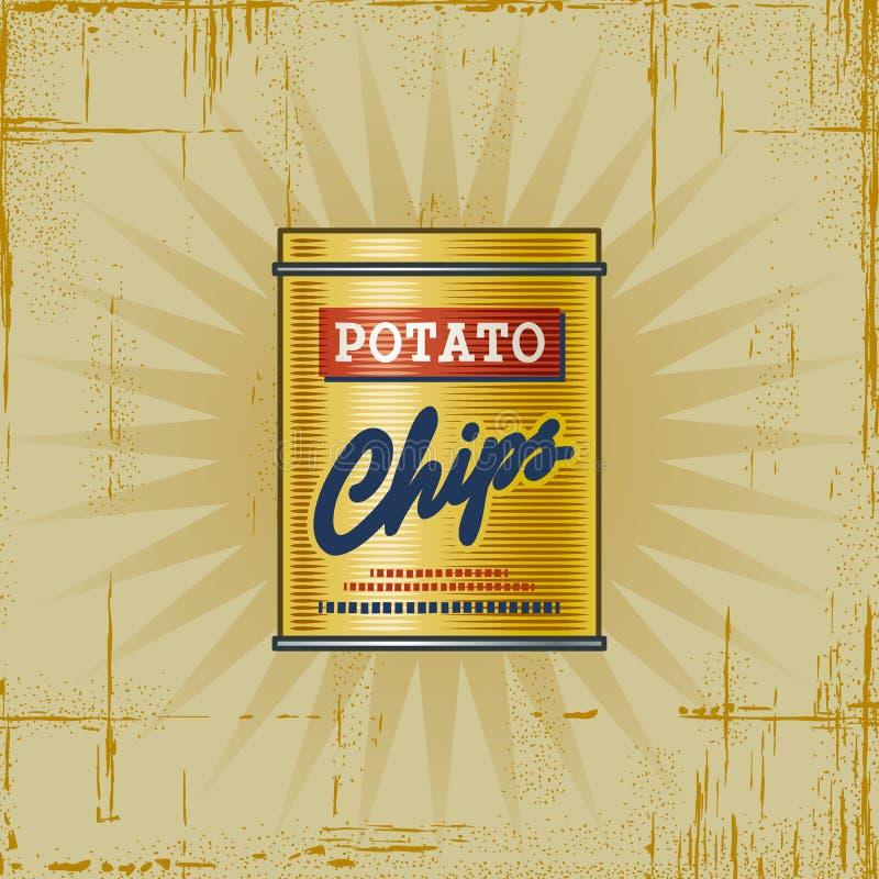 Retro Potato Chips Can stock illustration