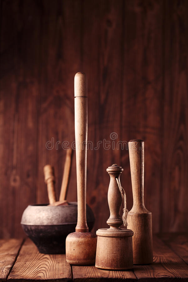 Free Retro Potato Mashers On Old Wooden Table In Rustic Style Stock Photos - 43053263