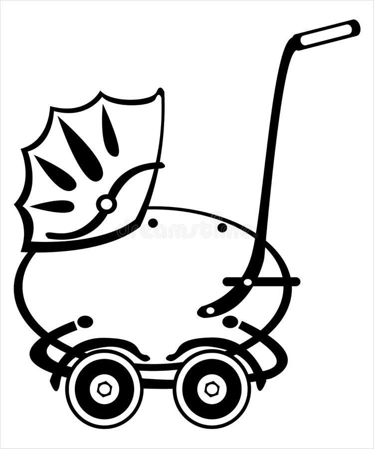 Retro powozik na bielu royalty ilustracja