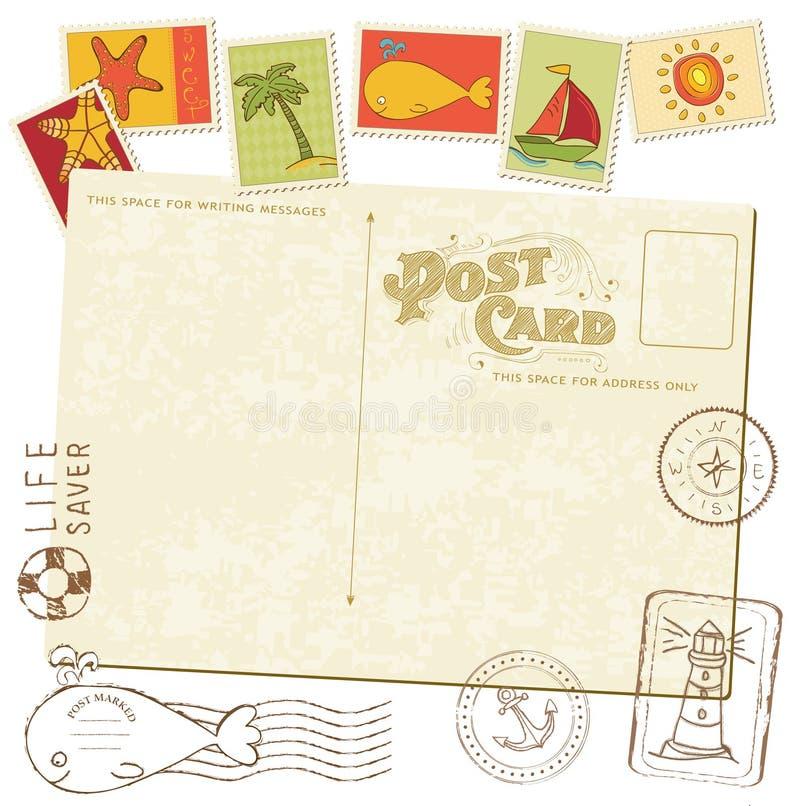 Retro prentbriefkaar van de Uitnodiging met OVERZEESE zegels royalty-vrije illustratie