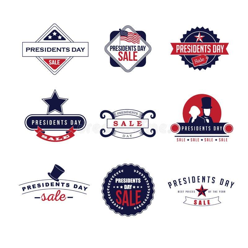 Retro presidenti Day Icon Set illustrazione vettoriale