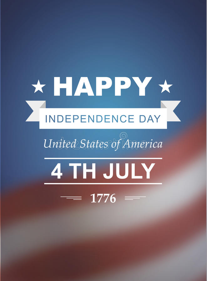 Retro Printing Card For Independence Day Of America Stock Vector