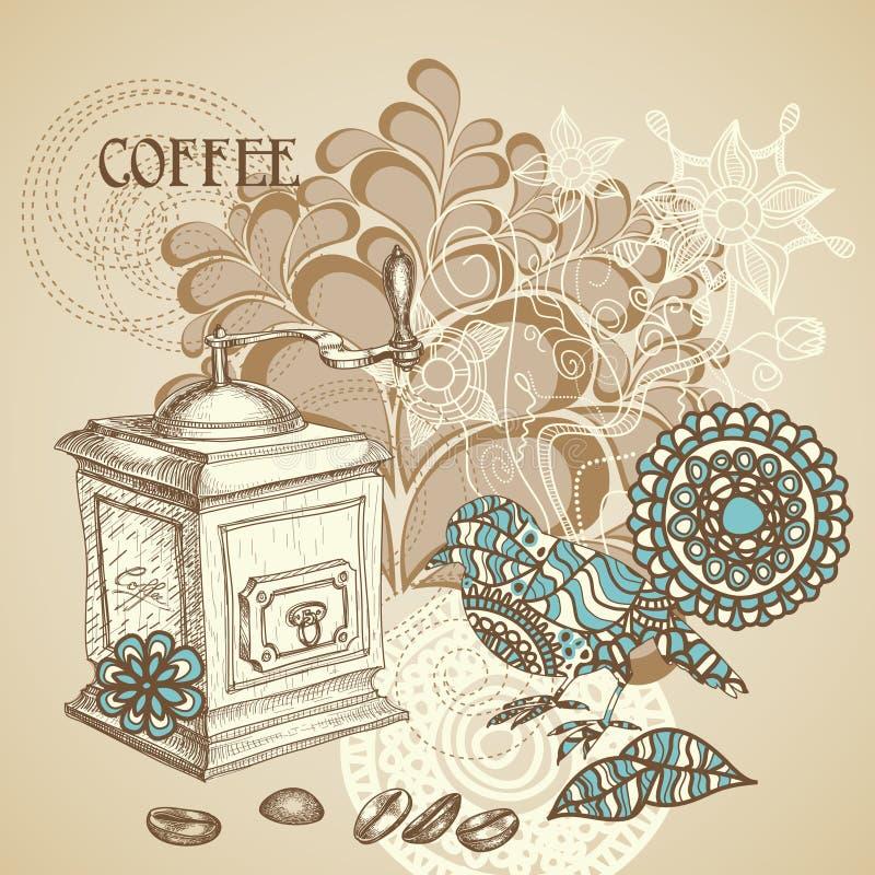 Retro priorità bassa del caffè illustrazione vettoriale