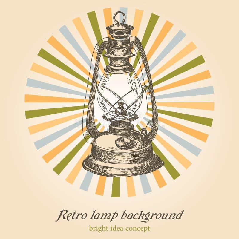 Retro priorità bassa della lampada illustrazione vettoriale