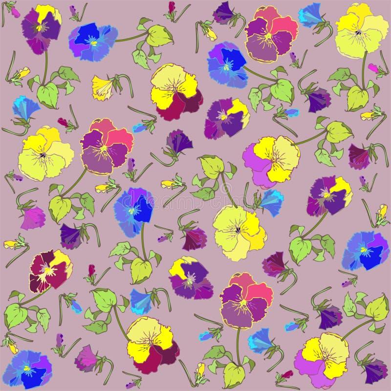 Retro priorità bassa floreale. Pansies. royalty illustrazione gratis