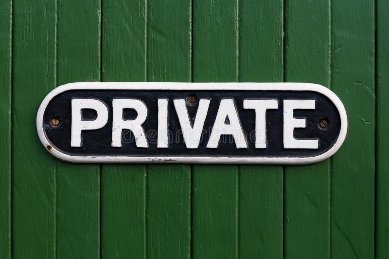 Retro privat tecken för gjutjärn fotografering för bildbyråer