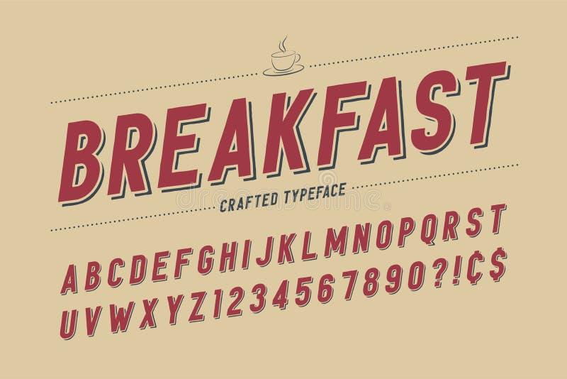 Retro progettazione condensata della fonte dell'esposizione, alfabeto, serie di caratteri, ty illustrazione di stock