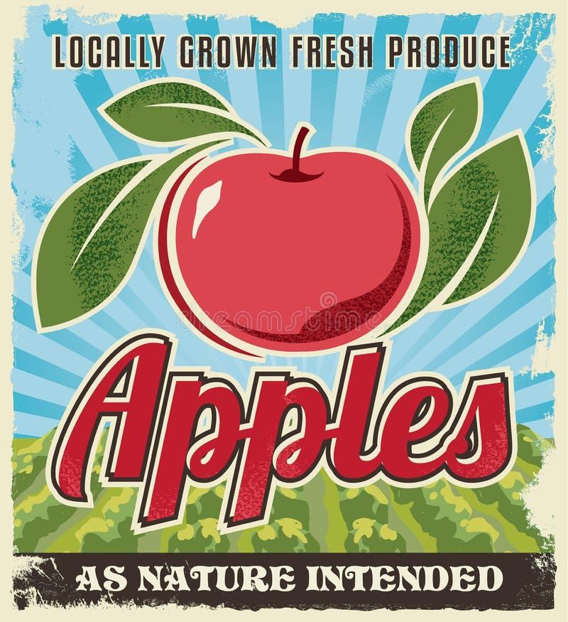 Retro progettazione d'annata dell'etichetta della cassa di Apple illustrazione di stock