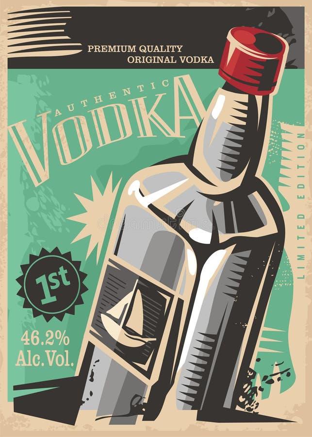 Retro progettazione del manifesto di vettore delle bevande della vodka illustrazione vettoriale