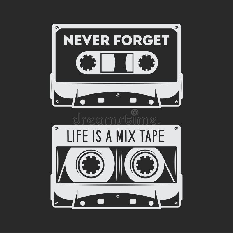 Retro progettazione della maglietta dell'audio cassetta Illustrazione dell'annata di vettore illustrazione di stock