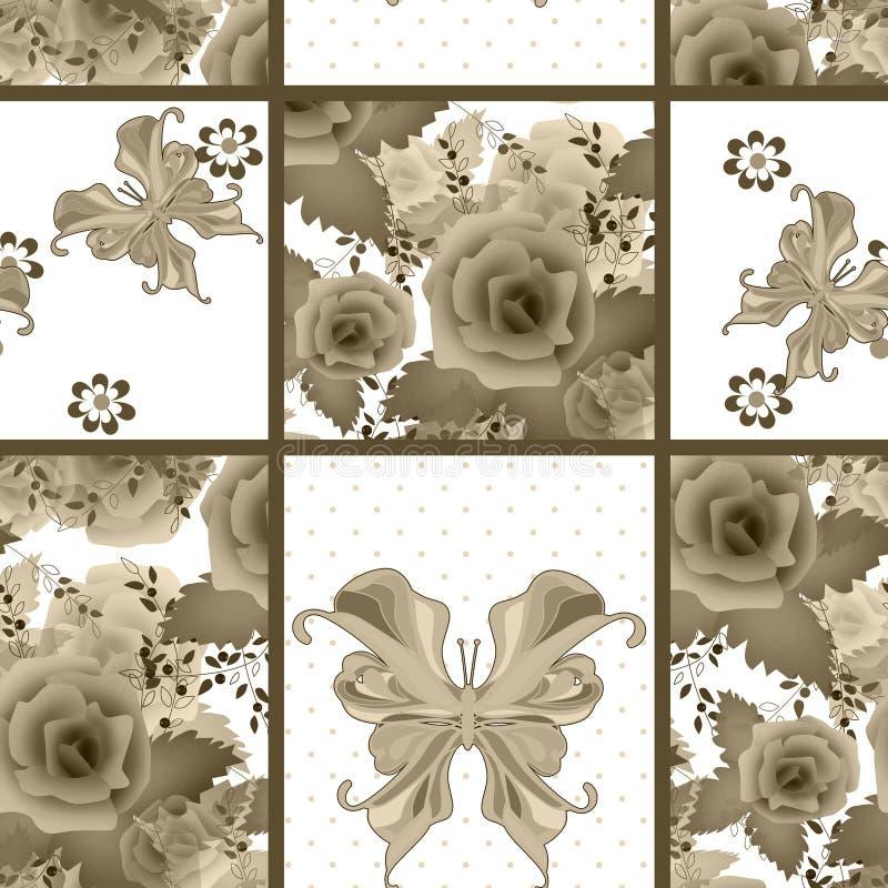 Retro progettazione della rappezzatura del tessuto a quadretti senza cuciture astratto del plaid royalty illustrazione gratis