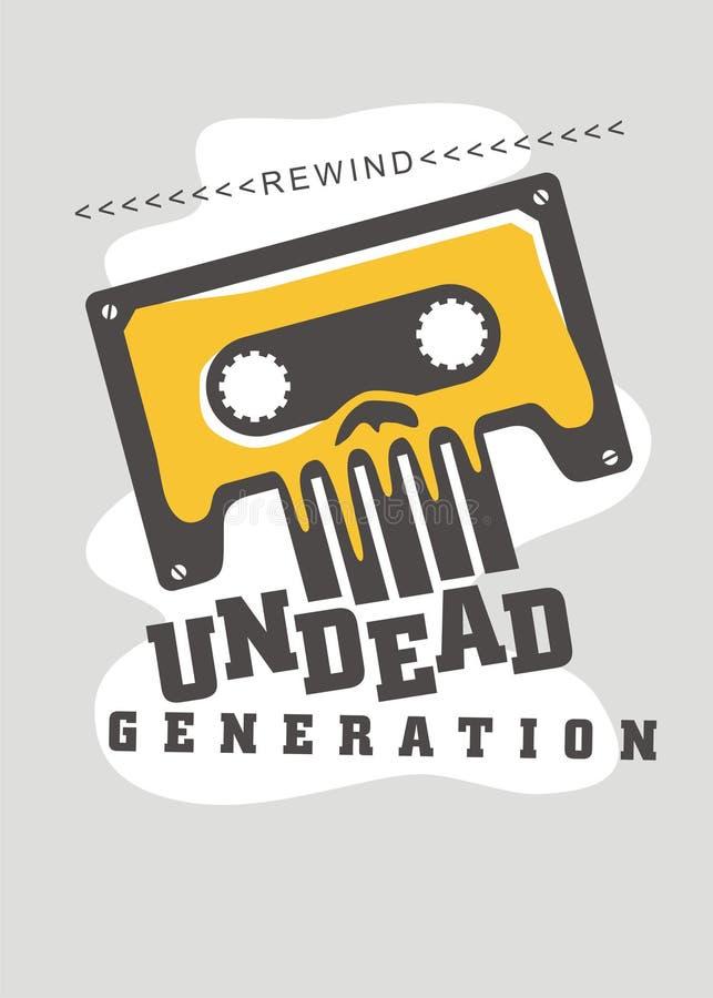 Retro progettazione della stampa della maglietta con l'immagine del cranio e della cassetta audio illustrazione vettoriale