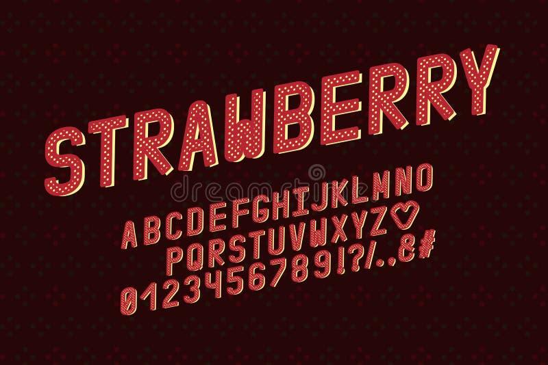 Retro progettazione di alfabeto Stile di colore della fragola Lettere, numeri, segni di interpunzione Tipografia di vettore della royalty illustrazione gratis