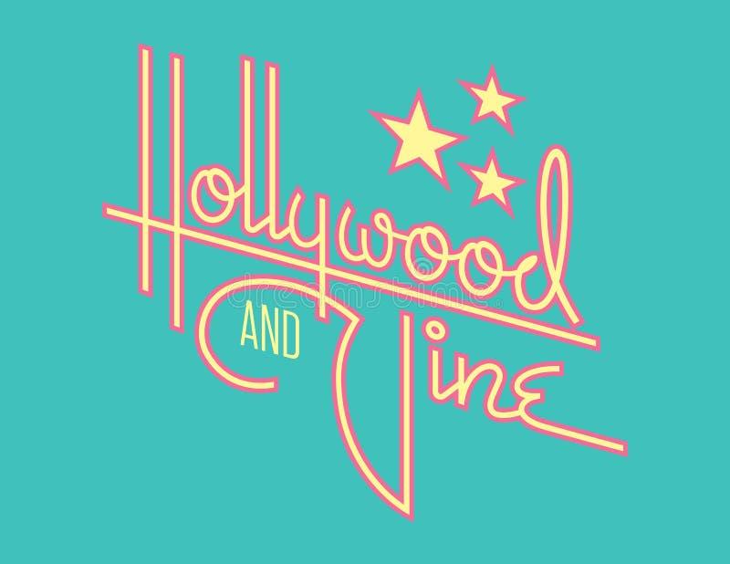 Retro progettazione di vettore della vite e di Hollywood con le stelle royalty illustrazione gratis